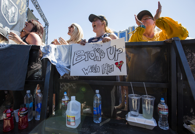 "Fans of Old Dominion cheer during the last day of the American Country Music's ""Party for a Cause,"" event at the Las Vegas Festival Grounds on Sunday, April 3, 2016 in Las Vegas. ..."
