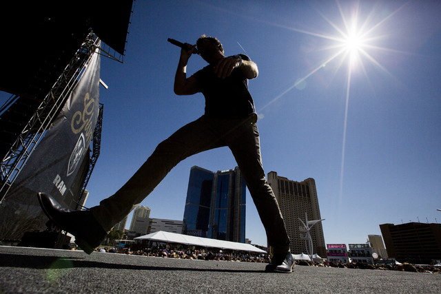 "Brett Eldredge performs during the last day of the American Country Music's ""Party for a Cause,"" event at the Las Vegas Festival Grounds on Sunday, April 3, 2016 in Las Vegas. Be ..."