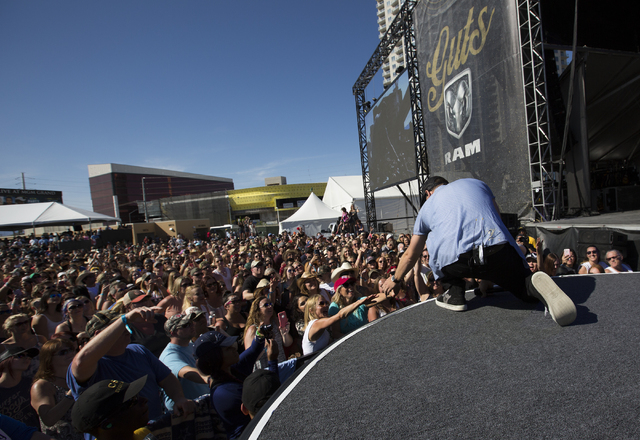 "Chase Rice performs during the last day of the American Country Music's ""Party for a Cause,"" event at the Las Vegas Festival Grounds on Sunday, April 3, 2016 in Las Vegas. Benjamin Hager/Las Vegas ..."