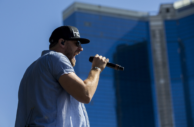 "Chase Rice performs during the last day of the American Country Music's ""Party for a Cause,"" event at the Las Vegas Festival Grounds on Sunday, April 3, 2016 in Las Vegas. Benjam ..."