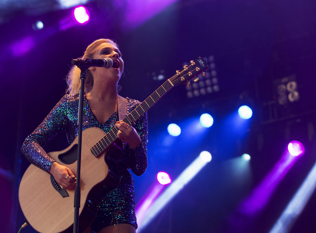 "Kelsea Ballerini performs during the first day of the American Country Music's ""Party for a Cause,"" event at the Las Vegas Festival Grounds on Friday, April 1, 2016 in Las Vegas. ..."