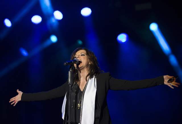 "Martina McBride performs during the first day of the American Country Music's ""Party for a Cause,"" event at the Las Vegas Festival Grounds on Friday, April 1, 2016 in Las Vegas.  ..."