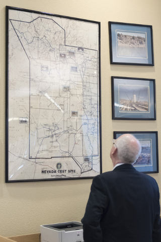 Ambassador Henry S. Ensher of the United States Mission to the International Organizations in Vienna views a map of the Nevada Test Site at the National Atomic Testing Museum in Las Vegas Tuesday, ...
