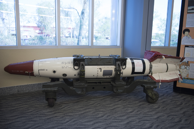 A deactivated nuclear weapon sits in the library at the National Atomic Testing Museum in Las Vegas Tuesday, April 5, 2016.(Jason Ogulnik/Las Vegas Review-Journal)