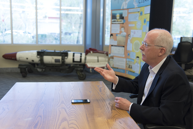 Ambassador Henry S. Ensher of the United States Mission to the International Organizations in Vienna speaks with a reporter at the National Atomic Testing Museum in Las Vegas Tuesday, April 5, 201 ...