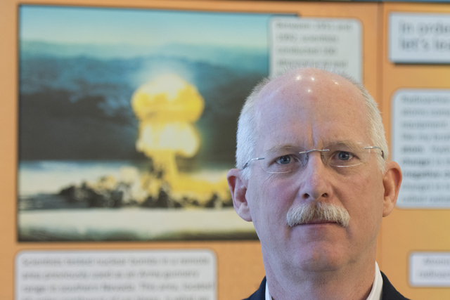 Ambassador Henry S. Ensher of the United States Mission to the International Organizations in Vienna poses the National Atomic Testing Museum in Las Vegas Tuesday, April 5, 2016. (Jason Ogulnik/La ...