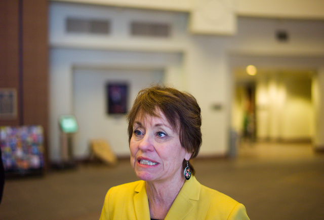 Republican Senate candidate Sharron Angle speaks during an interview with the Review-Journal at the Sawyer Building in Las Vegas on Friday, April 8, 2016. Chase Stevens/Las Vegas Review-Journal Fo ...