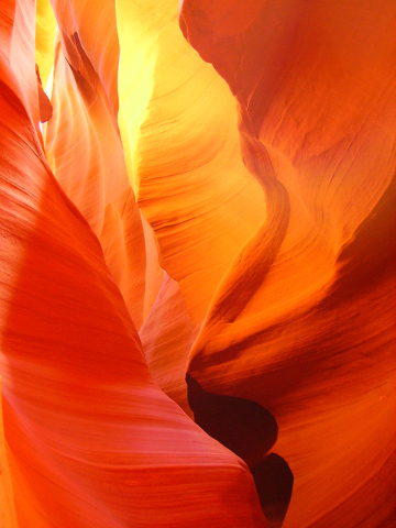 Natural light filters down into the corkscrew passages in Upper Antelope Canyon on the Navajo Indian Reservation near Page, Ariz. Deborah Wall/Special to View