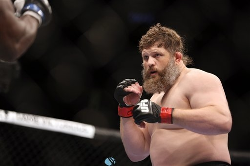 Roy Nelson is shown in action against Cheick Kongo during their UFC 159 Mixed Martial Arts heavyweight bout . (AP Photo/Gregory Payan)