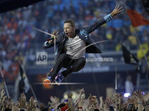 Coldplay's Chris Martin performs during halftime of Super Bowl 50 on Sunday, Feb. 7, 2016, in Santa Clara, Calif. (Marcio Jose Sanchez/The Associated Press)