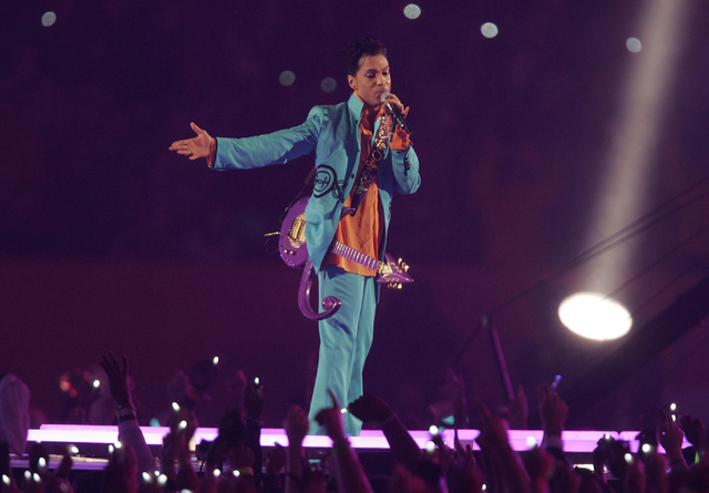 Prince performs during halftime of Super Bowl XLI football game at Dolphin Stadium in Miami on Sunday, Feb. 4, 2007. (Mark Duncan/AP)