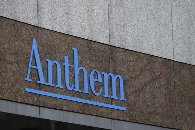This Wednesday, Dec. 3, 2014 file photo shows the Anthem logo at the company's corporate headquarters in Indianapolis. (Darron Cummings/AP File)