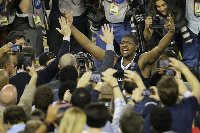 Villanova forward Kris Jenkins celebrates after the NCAA Final Four tournament college basketball championship game against North Carolina Monday, April 4, 2016, in Houston. Villanova won 77-74. ( ...