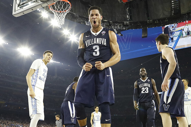 Villanova guard Josh Hart (3) reacts to play against North Carolina during the second half of the NCAA Final Four tournament college basketball championship game Monday, April 4, 2016, in Houston. ...