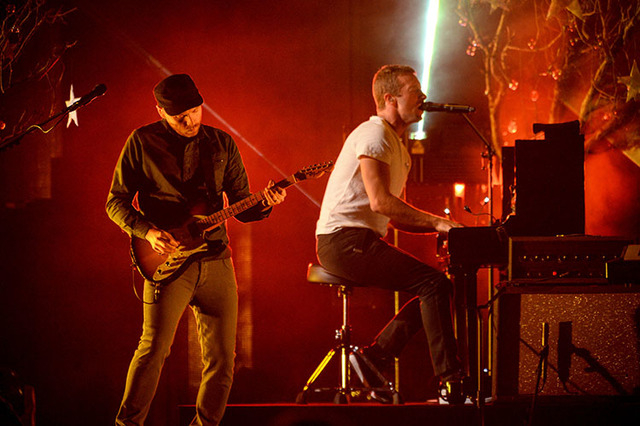Coldplay performs at the iHeartRadio Music Festival at the MGM Grand Garden Arena on Sept. 19, 2014 in Las Vegas, Nevada. (Photo by Al Powers/Powers Imagery/Invision/AP)