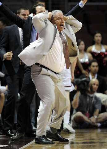 New Mexico State coach Marvin Menzies reacts to a call during the second half of an NCAA college basketball game against Seattle in the first round of the West Athletic Conference men's tournament ...