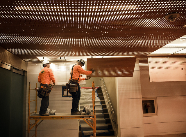 Construction is seen Monday, March 7, 2016 in the suite products hospitality area at the T-Mobile Arena behind New York-New York. The joint venture partners AEG and MGM Resorts is scheduled to ope ...