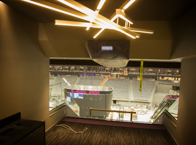 A suite is seen Monday, March 7, 2016 at the T-Mobile Arena behind New York-New York. The joint venture partners AEG and MGM Resorts is scheduled to open the arena next month. Jeff Scheid/Las Vega ...