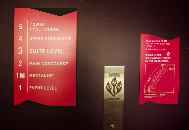 Elevator sign is seen Monday, March 7, 2016 at the T-Mobile Arena behind New York-New York. The joint venture partners AEG and MGM Resorts is scheduled to open the arena next month. Jeff Scheid/La ...