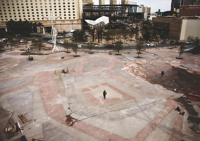 Construction is seen Monday, March 7, 2016 at Toshiba Plaza behind New York-New York. The joint venture partners AEG and MGM Resorts is scheduled to open the arena next month. Jeff Scheid/Las Vega ...