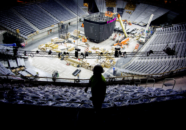Construction is seen Monday, March 7, 2016 at the T-Mobile Arena behind New York-New York. The joint venture partners AEG and MGM Resorts is scheduled to open the arena next month. Jeff Scheid/Las ...