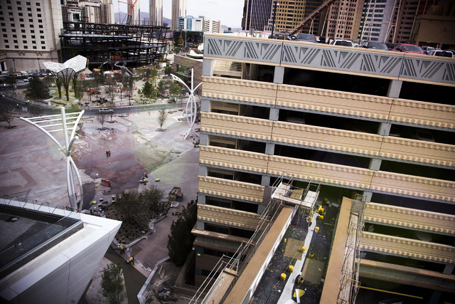 A walk way from the New York-New York parking garaged to the T-Mobile Arena is seen Monday, March 7, 2016. The joint venture partners AEG and MGM Resorts is scheduled to open the arena next month. ...