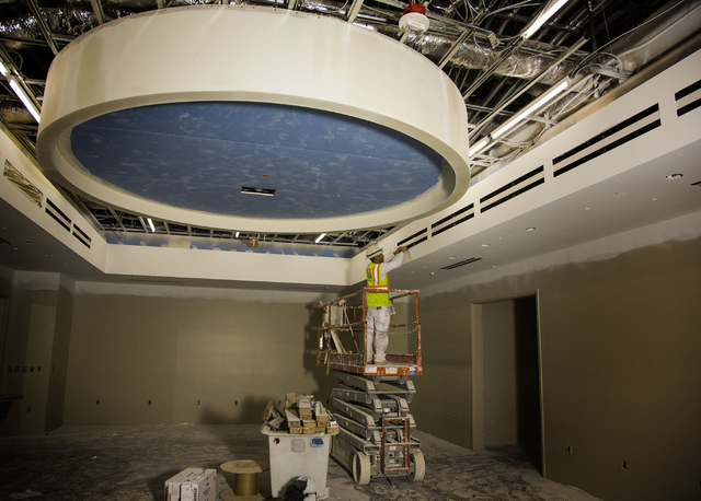 Construction is seen Monday, March 7, 2016 in the proposed men's home hockey locker room at the T-Mobile Arena behind New York-New York. The joint venture partners AEG and MGM Resorts is scheduled ...