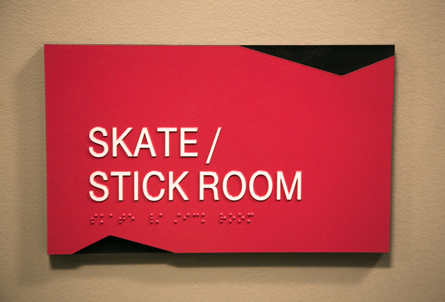 A room designated for hockey equipment is seen Monday, March 7, 2016 at the T-Mobile Arena behind New York-New York. The joint venture partners AEG and MGM Resorts is scheduled to open the arena n ...