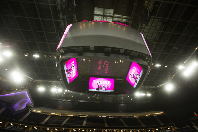 The T-Mobile Arena scoreboard is seen on Thursday, March 24, 2016. Jeff Scheid/Las Vegas Review-Journal Follow @jlscheid