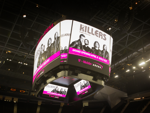 Scoreboard at the T-Mobile Arena is seen on Monday, March 28, 2016. The Killers will open the arena with a concert on April 6. Jeff Scheid/Las Vegas Review-Journal Follow @jlscheid