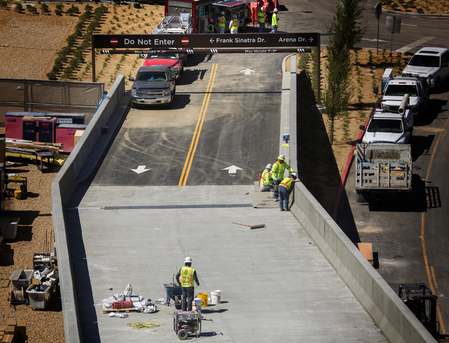 Construction is seen Thursday, March, March 31, 2016 on the new traffic ramp to New York-New York parking garage. Jeff Scheid/Las Vegas Review-Journal Follow @jlscheid