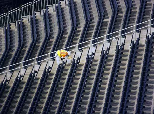 A man work on seats at the T-Mobile Arena on Saturday, March 12, 2016. Jeff Scheid/Las Vegas Review-Journal Follow @jlscheid