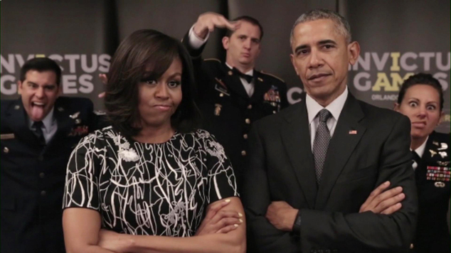 This image taken from a video released by Kensington Palace, London, on Friday April 29, 2016 shows President of the United States, Barack Obama and Michelle Obama on a video call with Britain's P ...