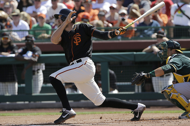 San Francisco Giants' Hunter Pence during a spring training baseball game against the Oakland Athletics in Scottsdale, Ariz., Monday, March 21, 2016. (Jeff Chiu/AP)