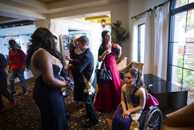 Larissa Evans, right, looks on after arriving at the Westin Lake Las Vegas ahead of high school prom night in Henderson on Saturday, April 16, 2016.  (Chase Stevens/Las Vegas Review-Journal) Follo ...