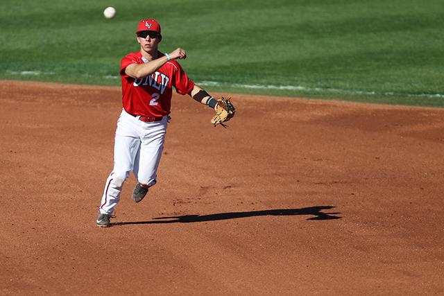 UNLV's Justin Jones (2) throws the ball to first base for an out during their baseball game against Nebraska at Wilson Stadium in Las Vegas Sunday, Feb. 15, 2015. UNLV won 3-0. (Erik Verduzco/Las  ...