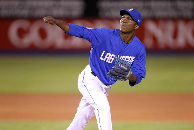 Las Vegas 51s pitcher Rafael Montero watches a Reno Aces fly ball in the first inning of Game 1 of their PCL Conference Championship Series at Cashman Field Wednesday, Sept. 6, 2014. (K.M. Cannon/ ...