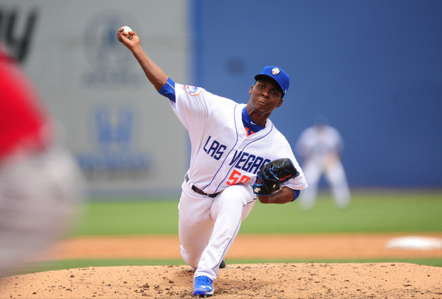 Las Vegas 51s starting pitcher Rafael Montero delivers to the Albuquerque Isotopes in the third inning of their Triple-A minor league baseball game at Cashman Field. (Josh Holmberg/Las Vegas)
