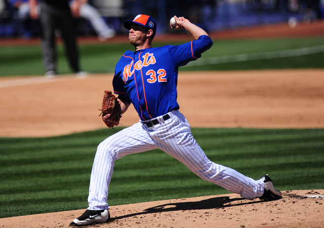 New York Mets starting pitcher Steven Matz delivers to the Chicago Cubs in the first inning of their MLB preseason baseball game at Cashman Field in Las Vegas Friday, April 1, 2016. The Mets defea ...