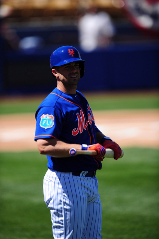 New York Mets  third baseman David Wright is seen before the start of their MLB preseason baseball game against the Chicago Cubs at Cashman Field in Las Vegas Friday, April 1, 2016. The Mets defea ...