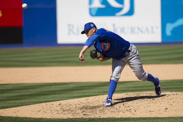 Chicago Cubs C.J. Riefenhauser (60) pitches against the New York Mets in their baseball game during Big League Weekend at Cashman Field on Friday, April 1, 2016, in Las Vegas. The Mets won 8-1. Er ...