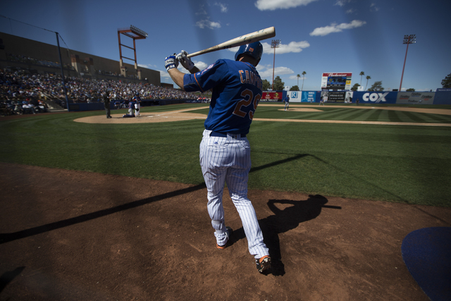 New York Mets Eric Campbell (29) stands on deck in their baseball game against the Chicago Cubs during Big League Weekend at Cashman Field on Friday, April 1, 2016, in Las Vegas. The Mets won 8-1. ...