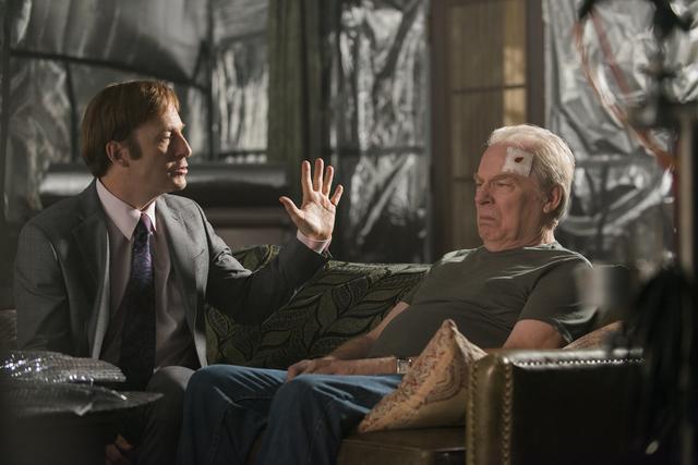 Bob Odenkirk as Jimmy McGill, Michael McKean as Chuck McGill - Better Call Saul _ Season 2, Episode 10 - (Ursula Coyote/AMC)