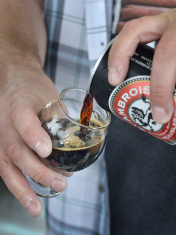 An oatmeal stout is poured at the Eurobrews tent during the Great Vegas Festival of Beer in the 800 block of Fremont Street in Las Vegas on Saturday, April 9, 2016. Bill Hughes/Las Vegas Review-Jo ...