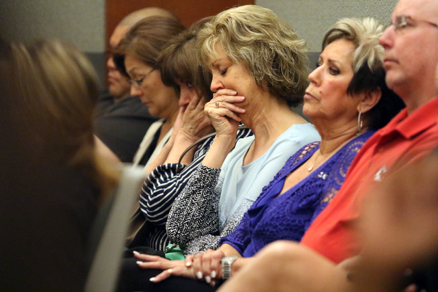 People attend the sentencing of Mark Branco, Anthony Granito and Jeffrey Martin, not pictured, in Judge Valerie Adair's courtroom at Regional Justice Center Tuesday, April 12, 2016, in Las Vegas.  ...