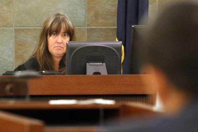 Judge Valerie Adair, shown at the at Regional Justice Center Tuesday, April 12, 2016, in Las Vegas, presides over the sentencing hearing of those involved in a two-year $1 million craps scheme at  ...