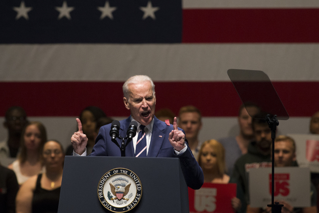 Vice President Joe Biden addresses the crowd during an event aimed at preventing sexual assault on college campuses in coordination with the It's On Us Week of Action, Thursday, April 7, 2016, at  ...