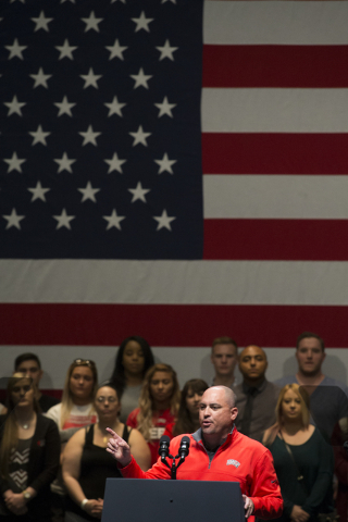 UNLV head football coach Tony Sanchez speaks to the crowd during an event aimed at preventing sexual assault on college campuses in coordination with the It's On Us Week of Action, Thursday, April ...