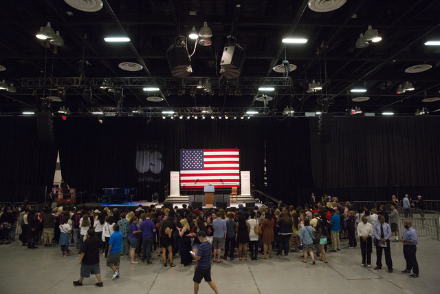 Preshow set up at Cox Pavilion at UNLV headlined by Lady Gaga and Vice President Joe Biden at an event aimed at preventing sexual assault on college campuses in coordination with the It's On Us We ...