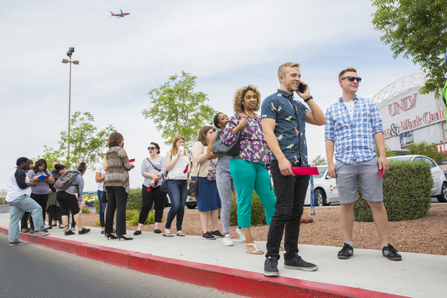Crowd's gather outside Cox Pavilion at UNLV to see Lady Gaga and Vice President Joe Biden at an event aimed at preventing sexual assault on college campuses in coordination with the It's On Us Wee ...